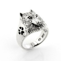 Sterling Silver Black Enamel Animal Paw, Howling Silhouette, and Wolf Head Ring Size 6(Sizes 5,6,7,8,9,10,11,12,13,14,15)