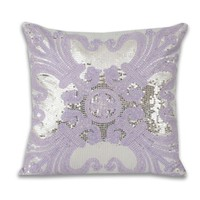 Ludo Sequin Pillow - Purple Silver