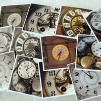 Vintage Clock faces photo cards set of 6 mini