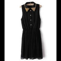 Spike Collar Chiffon Dress