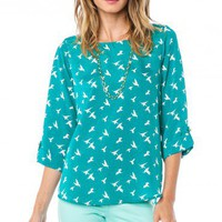 Sparrow Blouse in Teal - ShopSosie.com
