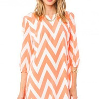 Zig Zag Charm Shift Dress in Neon Orange - ShopSosie.com