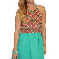 Teal Aztec Halter Dress