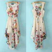lulula-fashion shopping mall — retro irregular Printed flower chiffon dress