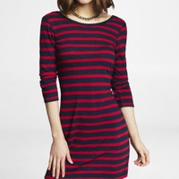 STRIPED CONVERTIBLE NECKLINE SLUB DRESS