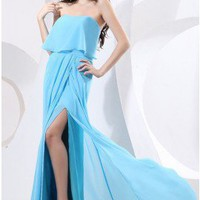 Sexy Strapless Sky Blue Side Cut Outs Prom Dress