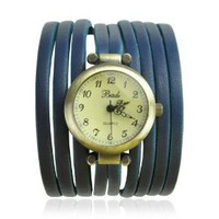 BADE Unisex Multi Silm Leather Stripes Wrap Watch