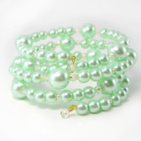 Mint Green Pearl Bracelet, Beaded Bracelet, Retro, Glamour, Adjustable Bracelet, Gatsby Style
