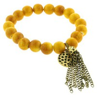 Beaded Bracelet with Gold Tassel - Yellow