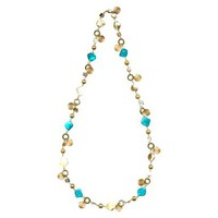 Metal Shell Long Necklace - Blue/Gold