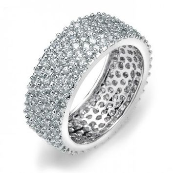 Bling Jewelry Five Row .925 Sterling Silver Micro Pave Cubic Zirconia Eternity Band - Size 7