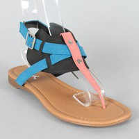 Qupid Agency-200 Colorblock Cuff Thong Flat Sandal