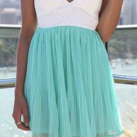 Xenia Boutique Strapless Chiffon Mint/White mini dress from xeniaeboutique