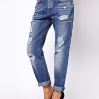 ASOS | ASOS Brady Boyfriend Jeans in Ripped Vintage Wash at ASOS