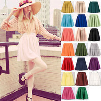 High Waisted Retro Chiffon Mini Skirt