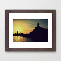 Shoreline Village Silhouettes Framed Art Print by RichCaspian