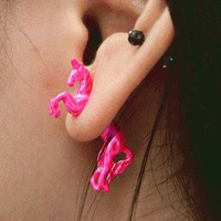 Neon Fashion 3D Horse Single Ear Stud | LilyFair Jewelry