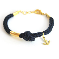 Anchor bracelet, dark blue bracelet with brass anchor charm and knot, nautical jewelry