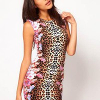 Starry Animal Floral Body-con Dress