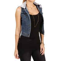Denim Knit Hooded Vest