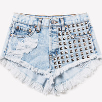 902 Acid Frayed Studded Shorts