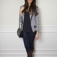 Gray Fitted Double Breasted Blazer with Black Hem and Gold B