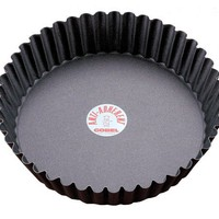 Paderno World Cuisine 9.5-Inch Fluted Non-Stick Deep Tart Mold with Removable Bottom