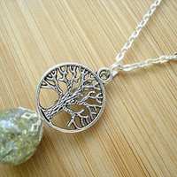 Tree of Life Light Olive Green Crackle Glass Marble Necklace