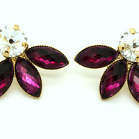 Purple stud Rhinestone earrings -14kk plated gold post earrings real swarovski rhinestones.