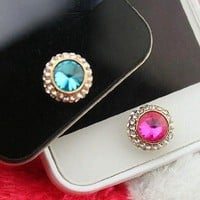 eBADA Brilliant 2 pack Pink and Blue Gem iphone Home Return Keys Buttons Sticker For iPhone 4S iPhone 5 iPod Touch iPad Repair Fix Replace Replacement:Amazon:Cell Phones & Accessories