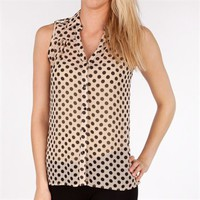 Dizzy Love Juniors Dotted Sheer Button Down Tank at Von Maur