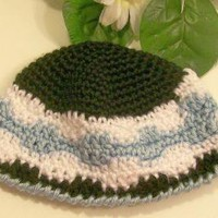 Boys Beanie HatBlack blue and whiteCrochetBaby Shower Gift by HandmadeGiftsbyBarb on Zibbet
