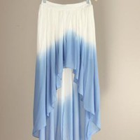 Blue & White Ombre Chiffon Hi-Low Skirt