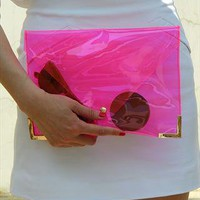 Clear Jel Candy Envelope Clutch Purse Bag Pink TRANSPARENT from EastWorkshop