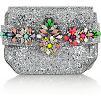 Shourouk | Crystal-embellished glitter-finished PVC clutch