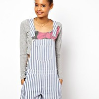 ASOS Short Denim Dungarees in Candy Stripe at asos.com