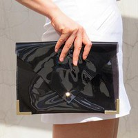 Clear Jel Candy Envelope Clutch Purse Bag Black TRANSPARENT from EastWorkshop
