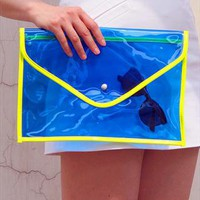 Oversize Clear Envelope Clutch Purse Bag / Blue Transparent from EastWorkshop