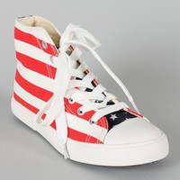 Candice-6 Canvas Flag Round Toe Lace Up Sneaker