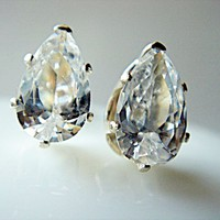 6x4mm Clear Drop Teardrop Cubic Zircon Sterling Silver Stamped 925 Stud Earrings