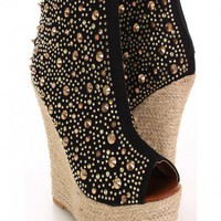 Black Rhinestone Spiked Espadrille Wedges