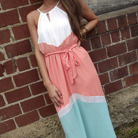 Color Block Halter Maxi | The Rage