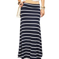 NavyWhite Striped Maxi Skirt