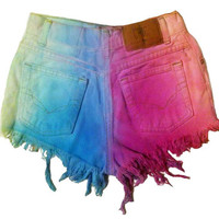 ALL SIZES Pastel denim high waisted shorts