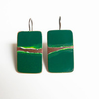 Painted Earrings Minimalist  Wearable Art Jewelry  green geometric copper enamel paint