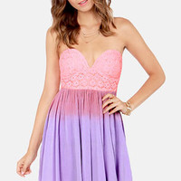 Get a Dip-Dye Strapless Pink and Lavender Lace Dress