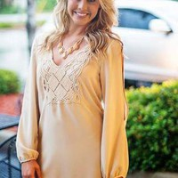 Ivory Long Sleeve Tunic with Crochet Trim