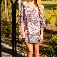 Purple & Pink Long Sleeve Paisley Shift Dress