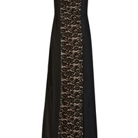 Nina Ricci | Charmeuse and crepe-paneled lace gown | NET-A-PORTER.COM