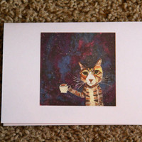 Galaxy Cat Card//Greeting Card//Blank Card by BethanyCaye on Etsy
